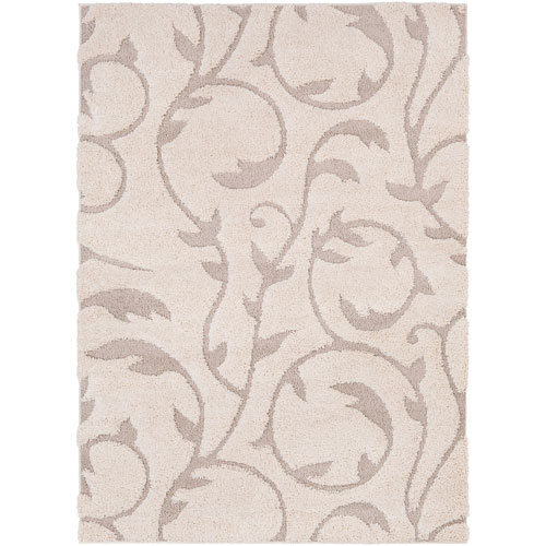 Surya Cut and Loop Shag Neutral Rectangle: 2 Ft. x 3 Ft. Rug