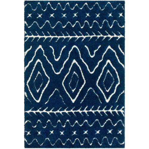 Cut and Loop Shag Blue Rectangle: 2 Ft. x 3 Ft. Rug