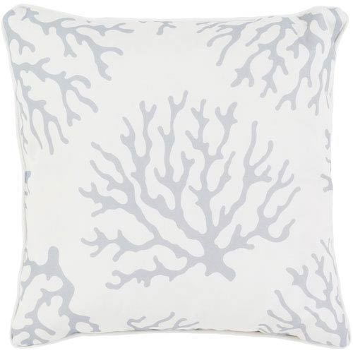 Coral Medium Gray and White 20 x 20-Inch Throw Pillow