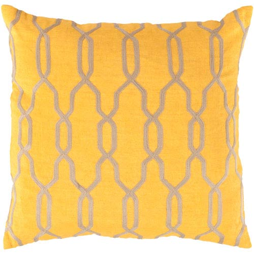 18-Inch Square Golden Rod and Parchment Patterned Linen Pillow Cover with Down Insert