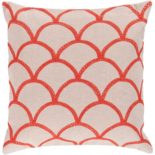 18-Inch Square Ivory and Poppy Pillow Cover with Poly Insert
