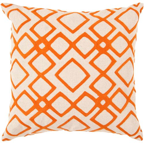 Surya 22 Inch Square Pumpkin And Peach Cream Patterned Linen Pillow Cover With Poly Insert