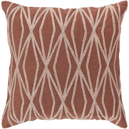 18-Inch Square Sienna and Parchment Patterned Cotton Pillow Cover with Poly Insert