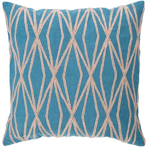 18-Inch Square Ocean Blue and Desert Sand Patterned Cotton Pillow Cover with Down Insert