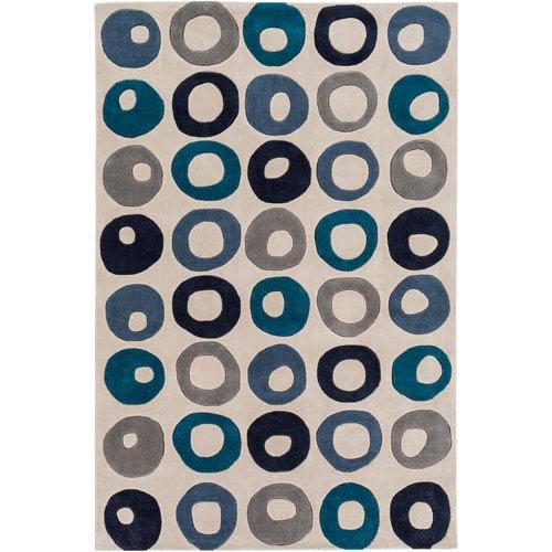 Cosmopolitan Black and Blue Rectangular: 9 Ft x 13 Ft Rug