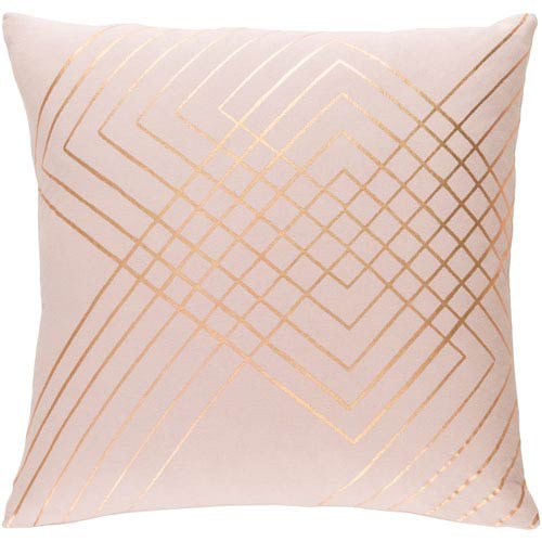 Surya Crescent Pink and Yellow 18-Inch Pillow with Down Fill