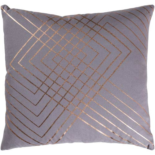 Crescent Medium Gray and Gold 22 x 22 In. Throw Pillow Cover
