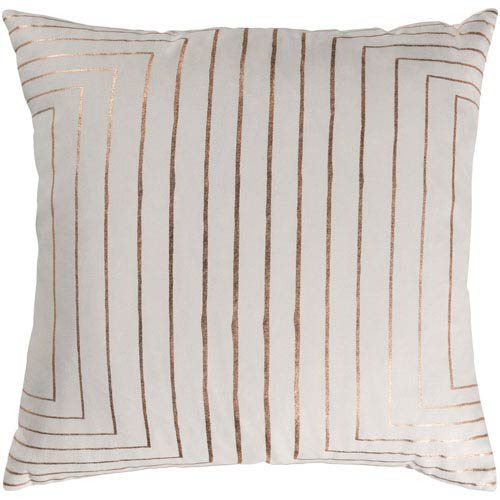Crescent Cream and Copper 22 x 22 In. Throw Pillow Cover