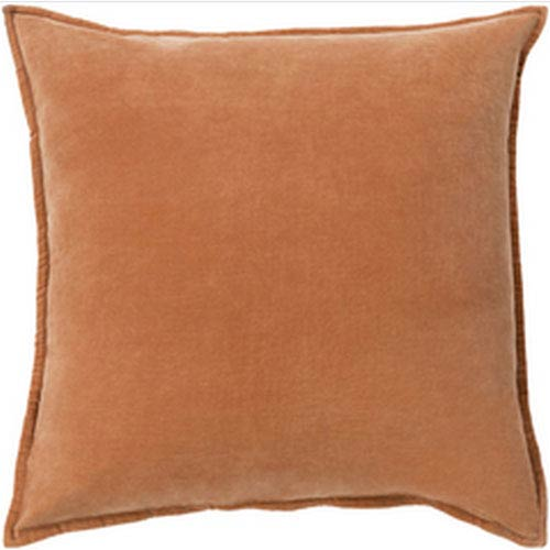 Smooth Velvet Rust 18-Inch Pillow with Down Fill