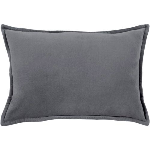 Cotton Velvet Charcoal 13 x 19 In. Throw Pillow