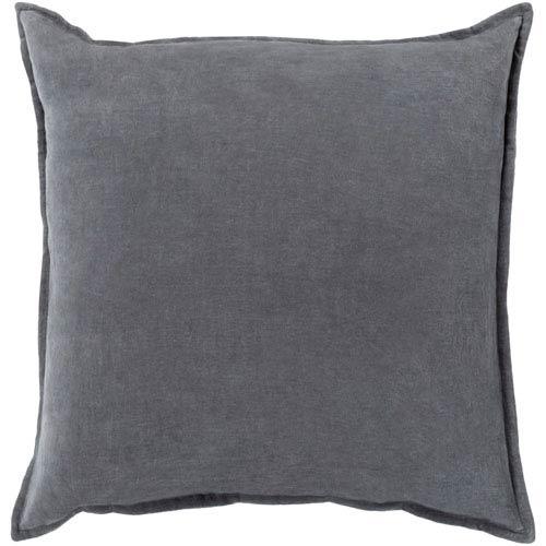 Cotton Velvet Gray 22-Inch Pillow Cover