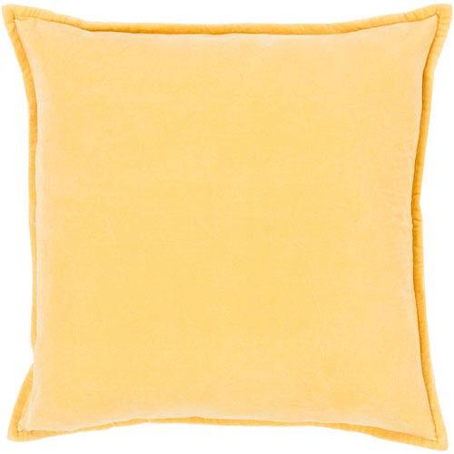 Cotton Velvet Yellow 18-Inch Pillow Cover