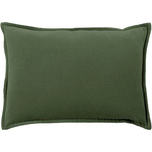 Cotton Velvet Dark Green 13 x 19 In. Throw Pillow