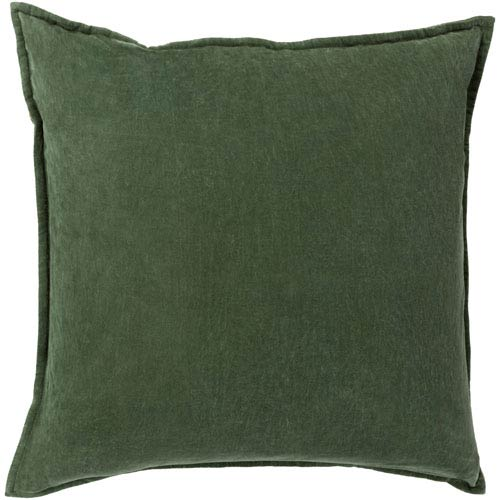 Cotton Velvet Green 22-Inch Pillow Cover