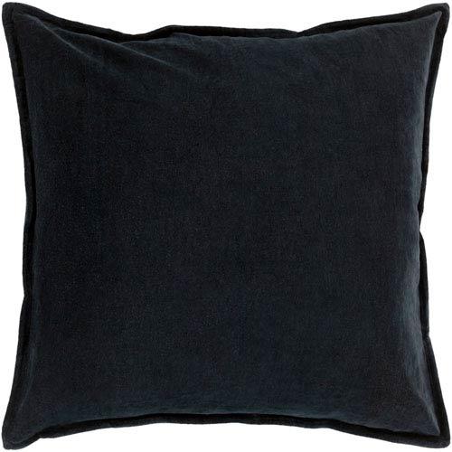 Cotton Velvet Black 22-Inch Pillow Cover