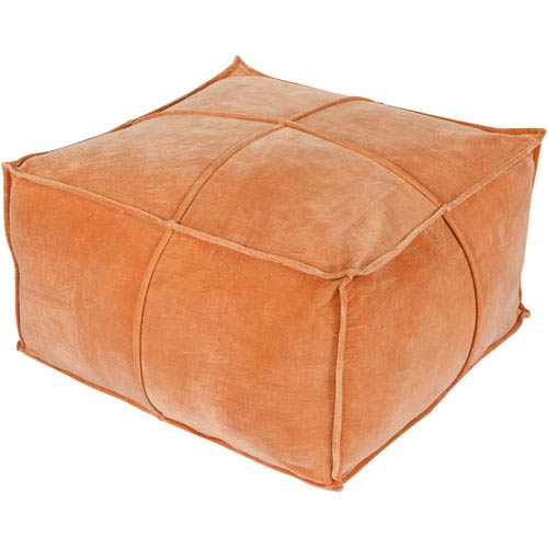 Orange Cotton Velvet Cube Pouf