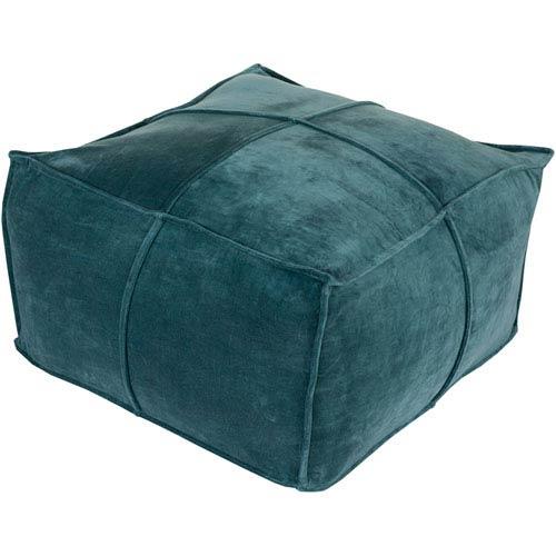 Blue Cotton Velvet Cube Pouf