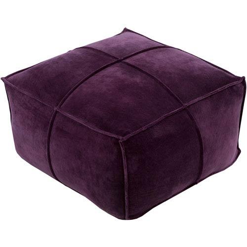 Purple Cotton Velvet Cube Pouf