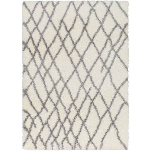 Surya Cloudy Shag Gray and White Rectangular: 2 Ft. x 3 Ft. Rug