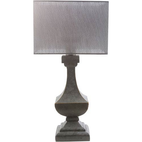 Surya Davis Antique Pewter One-Light Table Lamp with Gray Shade