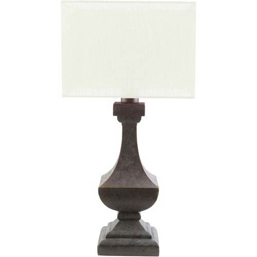 Davis Antique Pewter One-Light Table Lamp with White Shade