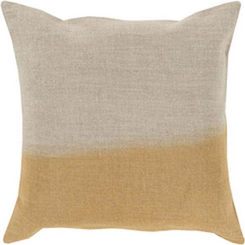Dip Dyed Light Gray and Gold 18-Inch Pillow with Poly Fill