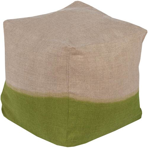 Surya Neutral and Green Dip Dyed Cube Pouf