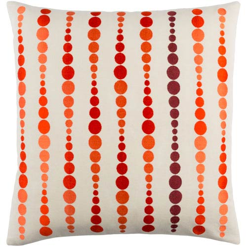 Dewdrop Orange and Red 22-Inch Pillow with Down Fill
