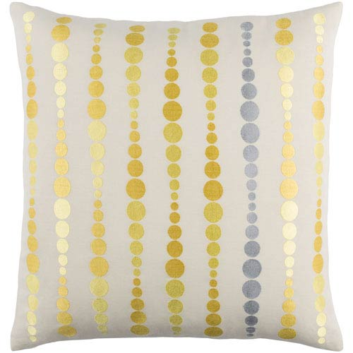 Dewdrop Yellow 22-Inch Pillow with Poly Fill