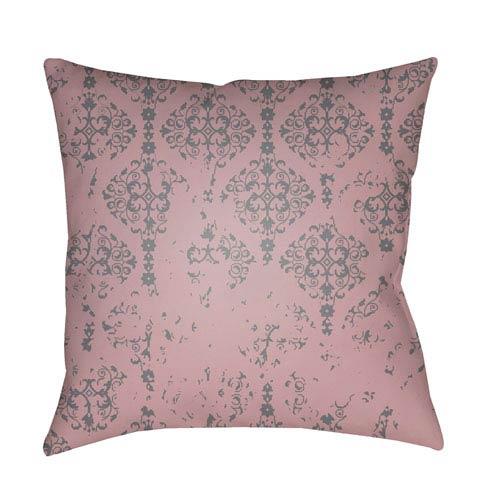 Surya Moody Damask Rose and Medium Gray 18 x 18-Inch Pillow