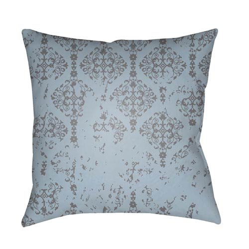 Moody Damask Charcoal and Denim 22 x 22-Inch Pillow