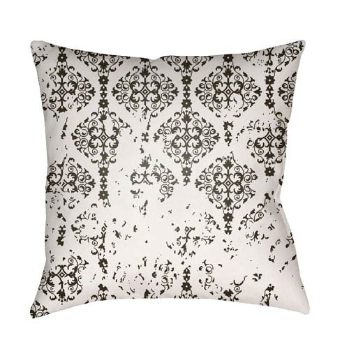 Moody Damask White and Black 22 x 22-Inch Pillow