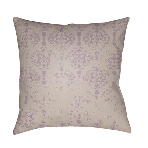Moody Damask Light Gray and Lilac 22 x 22-Inch Pillow