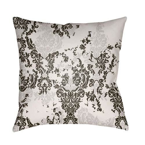 Moody Damask Medium Gray and Black 18 x 18-Inch Pillow