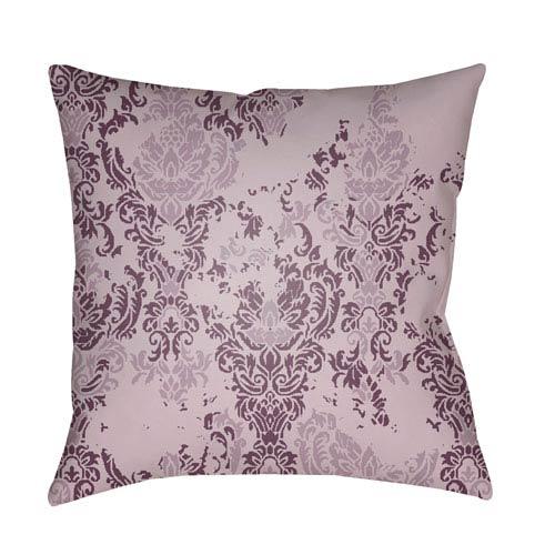Surya Moody Damask Lilac and Dark Purple 22 x 22-Inch Pillow
