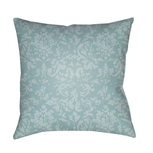 Surya Moody Damask Aqua and Pale Blue 22 x 22-Inch Pillow