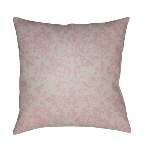 Surya Moody Damask Rose and Light Gray 22 x 22-Inch Pillow