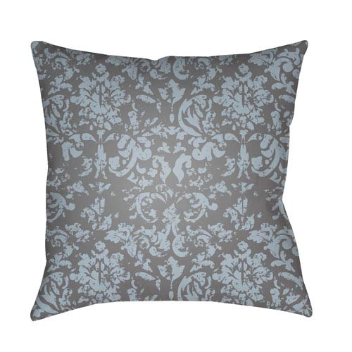 Surya Moody Damask Pale Blue and Medium Gray 18 x 18-Inch Pillow