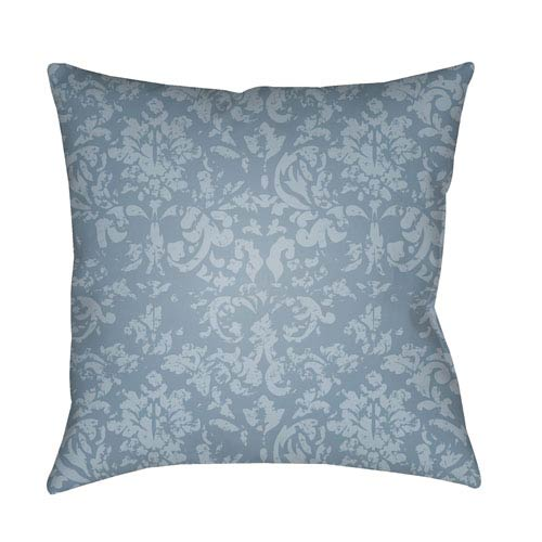 Surya Moody Damask Pale Blue and Denim 22 x 22-Inch Pillow