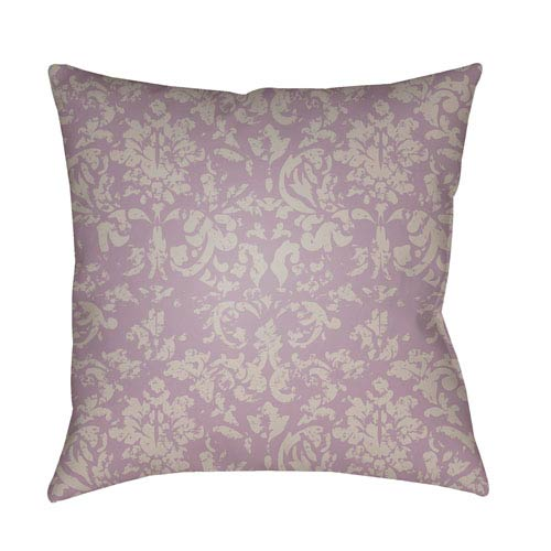 Surya Moody Damask Bright Purple and Light Gray 18 x 18-Inch Pillow