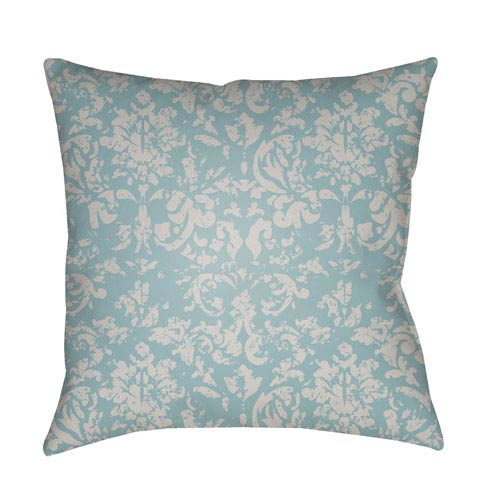 Surya Moody Damask Light Gray and Aqua 18 x 18-Inch Pillow