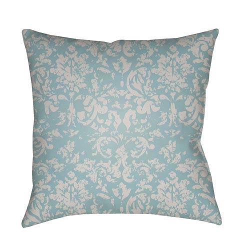Moody Damask Light Gray and Aqua 20 x 20-Inch Pillow