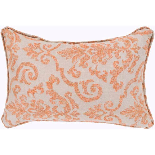 Damara Beige and Bright Orange 16 x 16 In. Throw Pillow