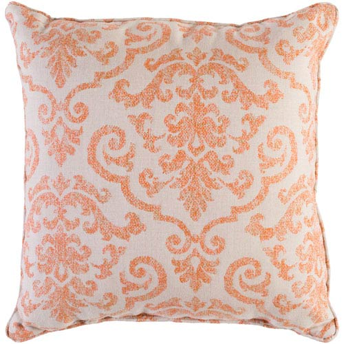 Damara Beige and Bright Orange 20 x 20 In. Throw Pillow