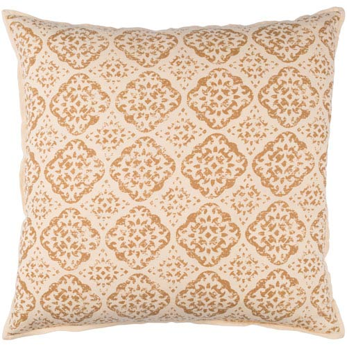 Beige and Camel 20 x 20-Inch Pillow Cover