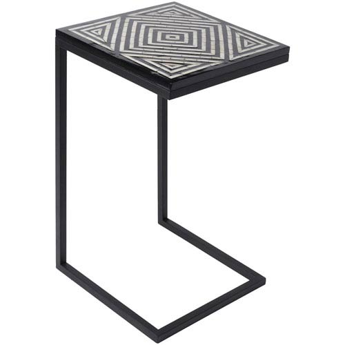 Surya Dunn Black and Cream Accent Table