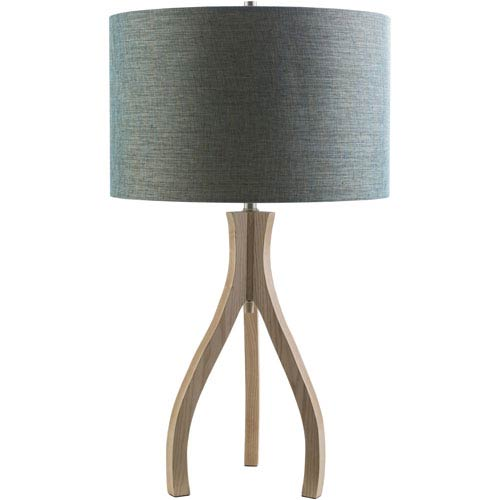 Duxbury Natural One-Light Table Lamp with Blue Shade