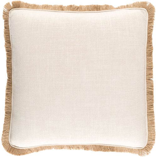 Ellery Beige 18-Inch Pillow with Poly Fill