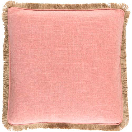 Ellery Coral and Beige 20-Inch Pillow with Down Fill