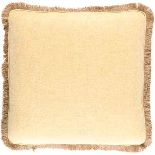 Ellery Gold and Beige 22-Inch Pillow with Poly Fill